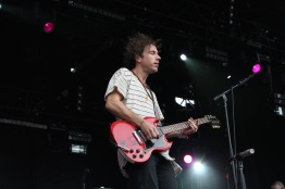 Josh Hogan, guitarist and vocalist of Southern Californian alternative rock band, The Mowgli's, as they performed at the Lincoln stage on Saturday at Landmark Music Festival. (Cassie Osvatics/Bloc Reporter)
